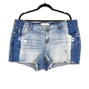 TORRID Two Toned Raw Hem Denim Jean Shorts 20